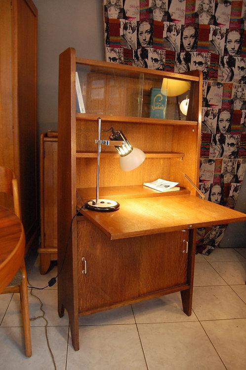 VENDU/Secrétaire vintage forme aileron bureau années 60 chêne
