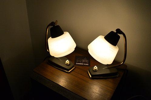 VENDU/Paire de lampes de chevet années 50 laiton verre