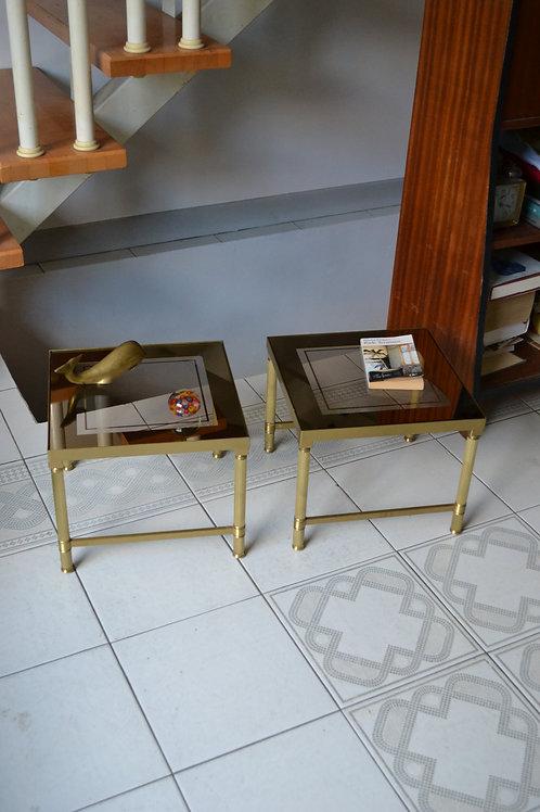 PROMO/Paire de tables d'appoint basses bronze  laiton Jansen années 70