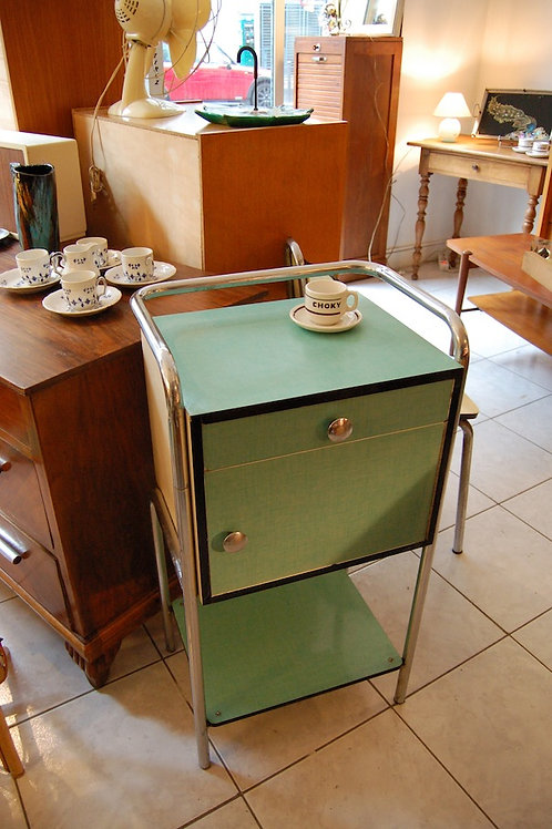 VENDU/Table de chevet d'internat formica vert 50s