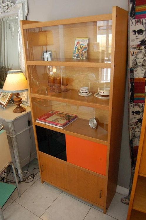 VENDU/Bibliothèque années 70 vitres orange