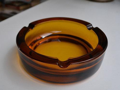RESERVE/Cendrier vintage verre ambré épais