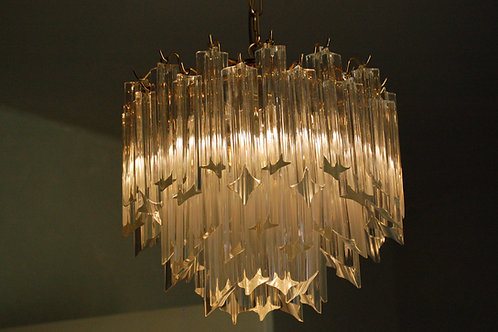 VENDU/Lustre à pampilles cristal Murano de Paolo Venini 70s