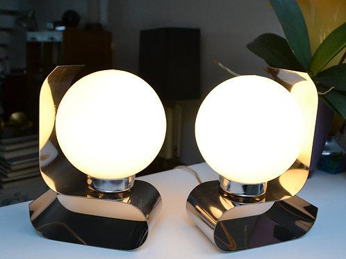 VENDU/Paire de lampes années 70 opaline & chrome