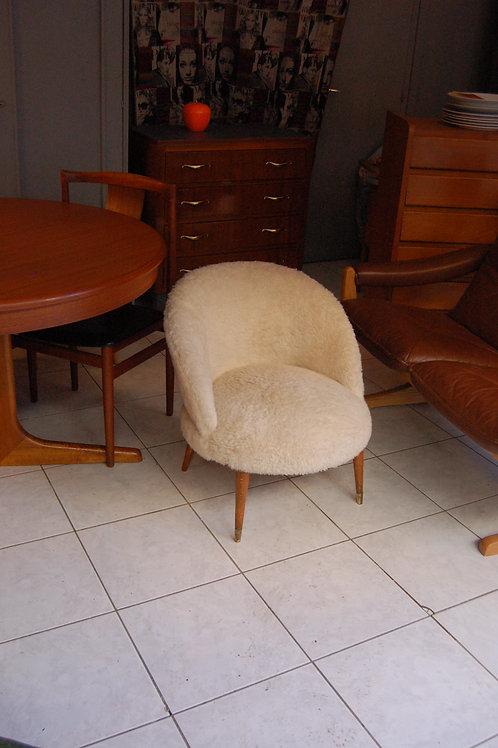 VENDU/Fauteuil cocktail vintage années 50 60 style laine de mouton