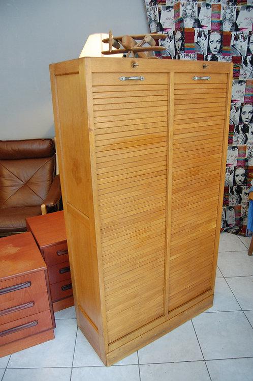 VENDU/Meuble à rideau vintage classeur double 60s chêne blond