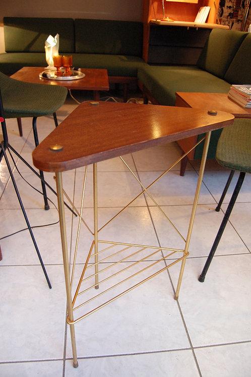 VENDU/Chevet vintage 50s 60s d'angle acajou et métal