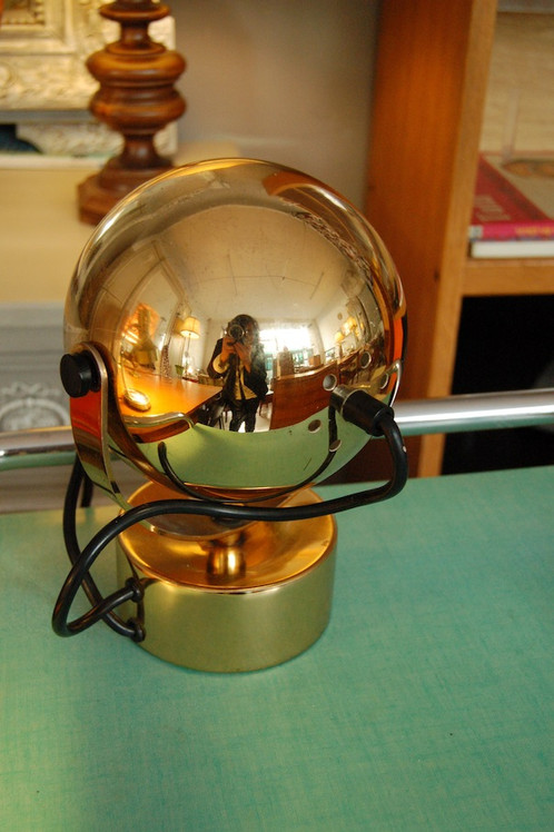 Vendu Lampe Bureau Eye Ball Orange 70s Metal Dore