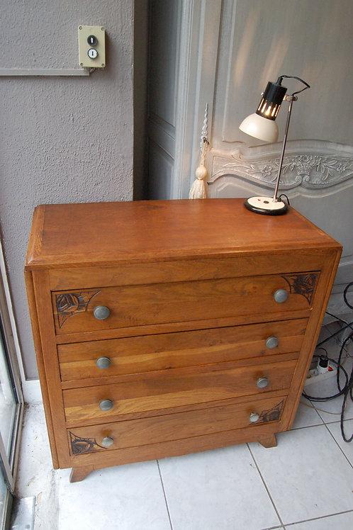 VENDU/Commode vintage chêne massif 40 50 4 tiroirs