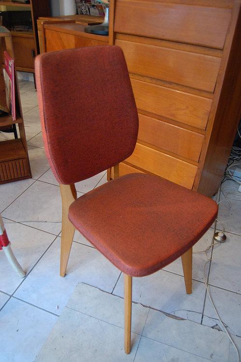 VENDU/Chaise années 50 rouge pieds compas vinyle chiné