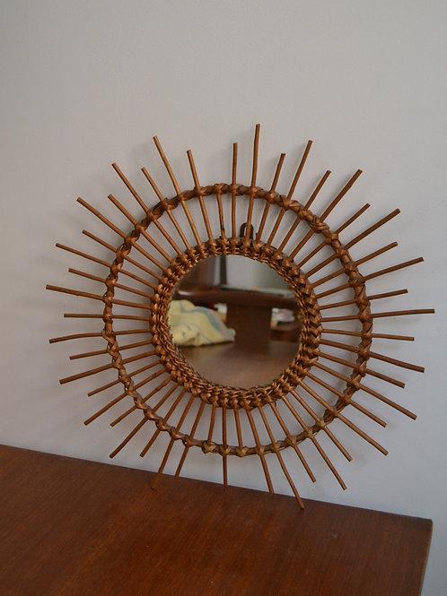 Miroir soleil vintage rotin et bambou