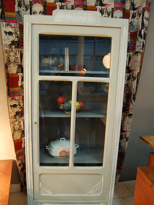 VENDU/Armoirette vintage grise bonnetière vitrine années 50 chêne