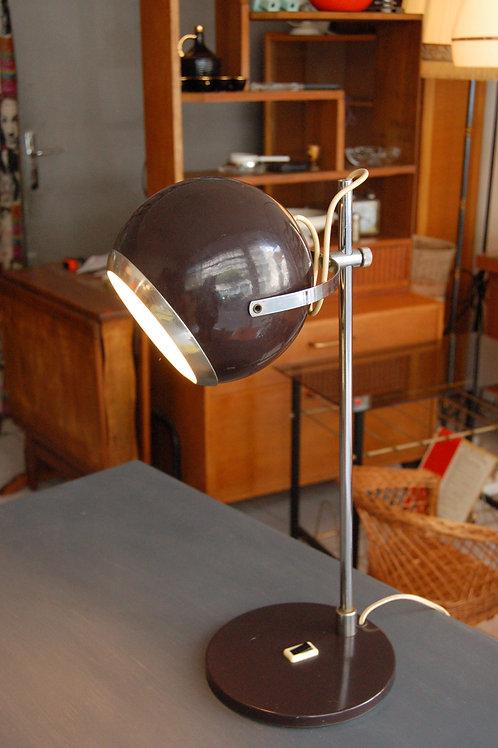 Grande Lampe eye ball vintage marron années 60