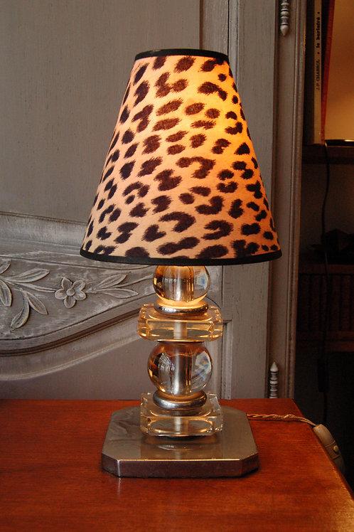 VENDU/Lampe Art Déco cristal et chrome DLG Adnet Circa 30 40