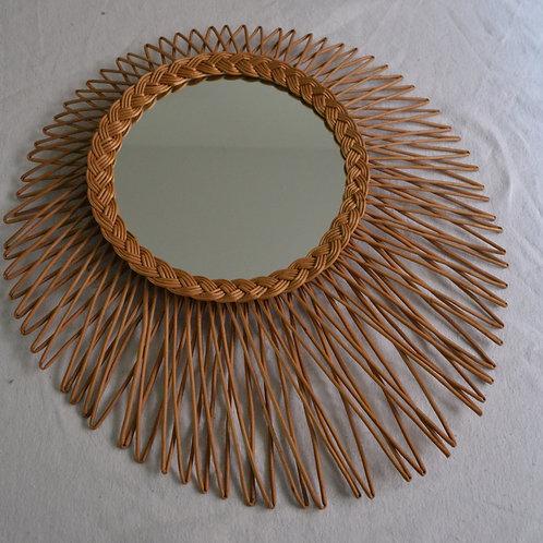 Miroir soleil rotin années 60 grand modèle