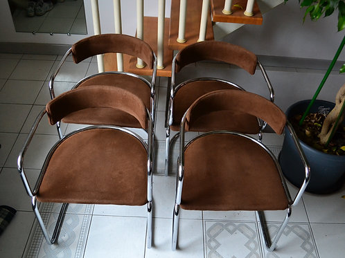 VENDU/4 chaises années 70 chrome design Renato Zévi