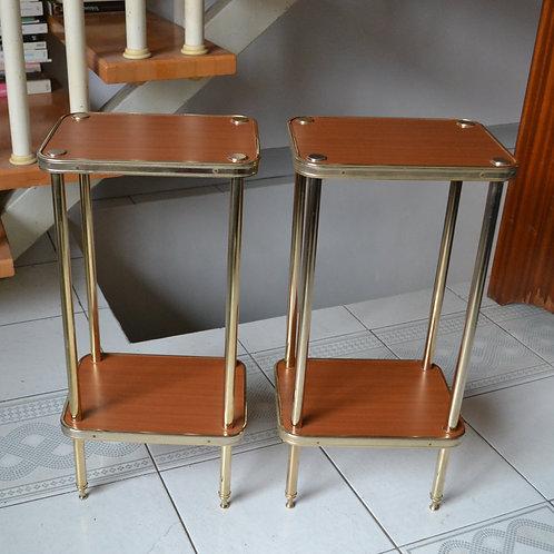 Paire de tables d'appoint Richard Création dorées à l'or fin  années 50