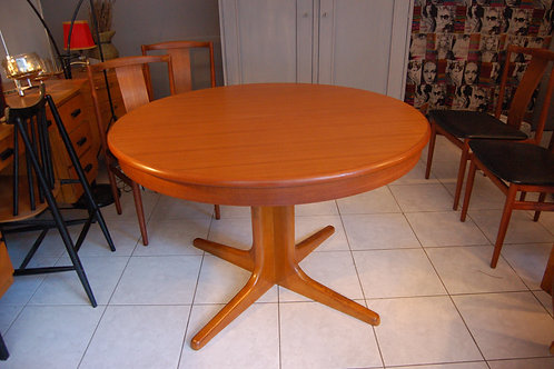 VENDU/Table style scandinave vintage teck massif 2 allonges