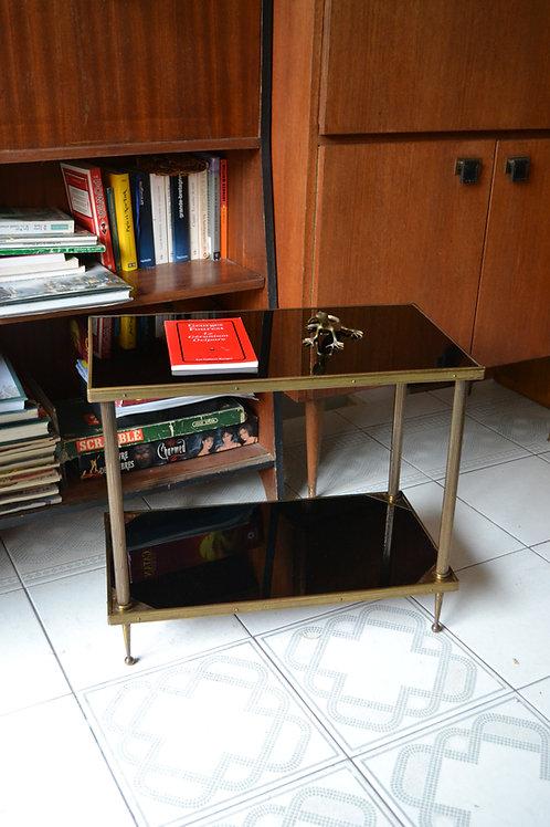Table d'appoint bout de canapé verre noir et laiton années 50