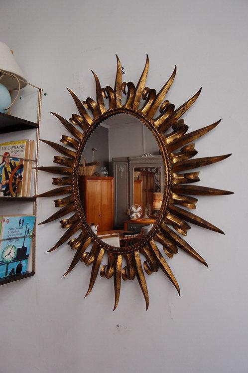 VENDU/Miroir soleil années 60 vintage métal doré