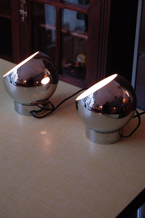 VENDU/2 lampes vintage eye ball années 70 chromé