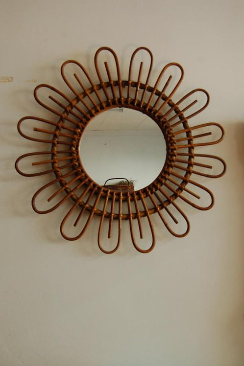 VENDU/Miroir soleil années 60 70 osier