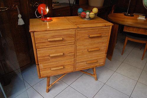 VENDU/Commode rotin années 60 3 tiroirs vintage