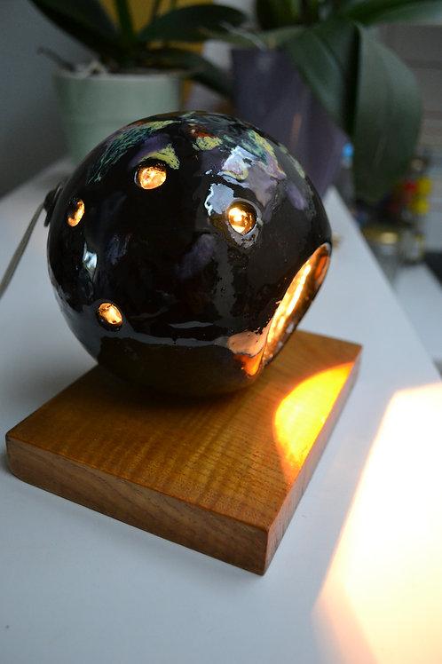 Lampe boule céramique noire années 60