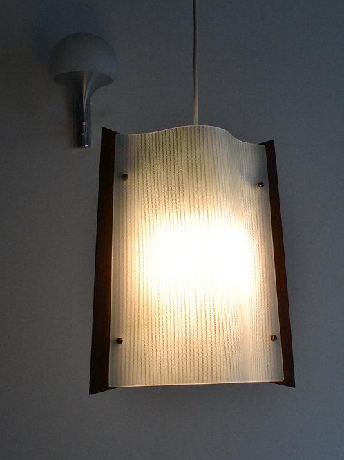 Suspension scandinave lustre teck années 60/70