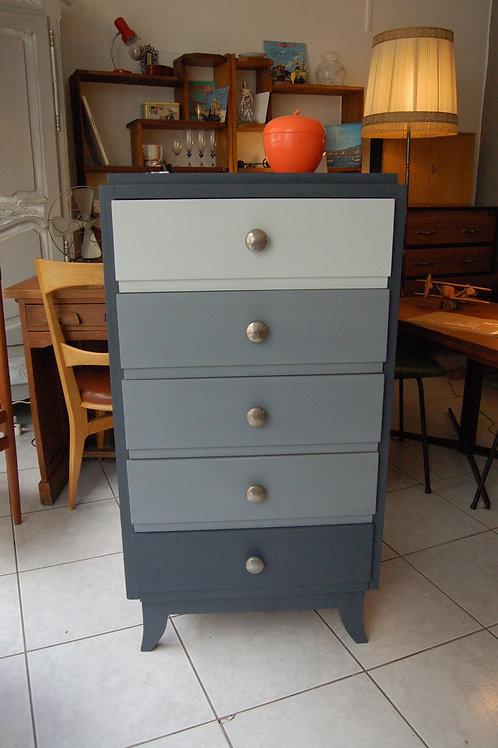 VENDU/Commode vintage chiffonnier années 60 gris dégradé 60s