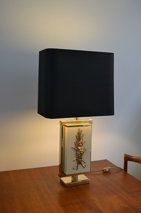 Lampe Années 70 Philippe Cheverny en résine, laiton et bronze