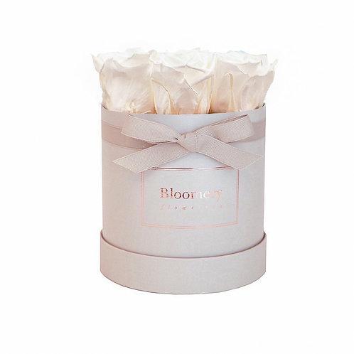 PEARL WHITE Infinity Rosen in MEDIUM Flowerbox