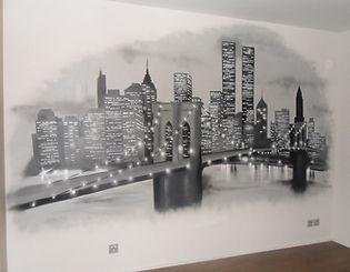 Décoration graffiti new york pont brooklyn nyc fresque street art
