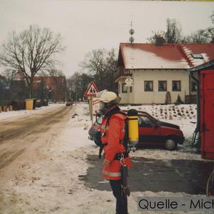 07-N-MICH-02 Altes Feuerwehrhaus mit Feuerwehrmann