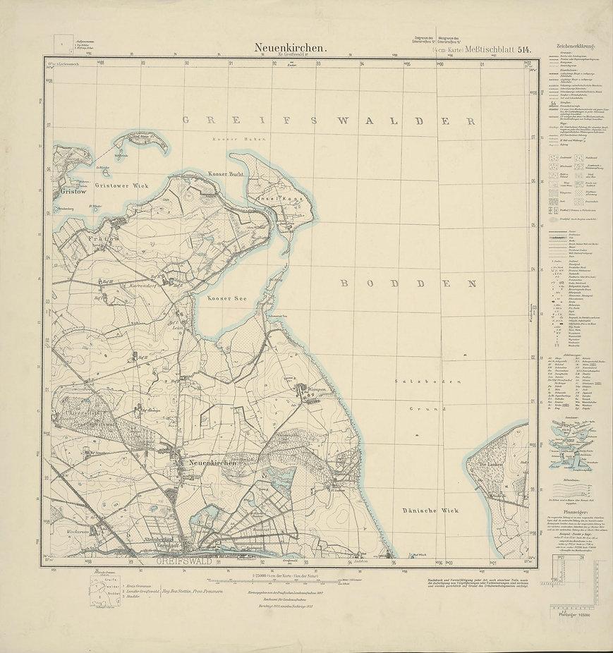 Karte Neuenkirchen 1887, 1920 berichtigt und1934 ergänzt