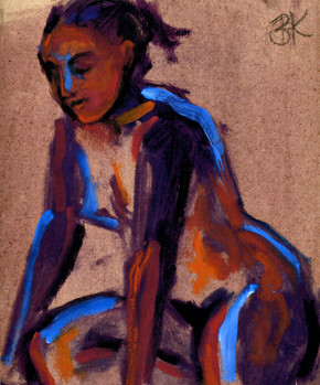 Figure with Blue Light