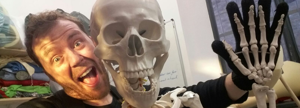 Andrew Tests Skeleton Puppets for the 'Bones' exhibition at GNM