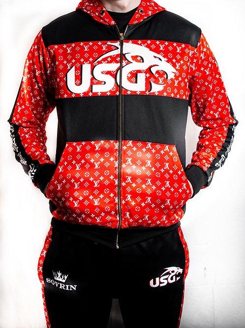 USG LV red and black tracksuit