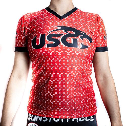 USG women's designer print V-neck tees