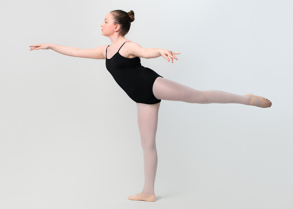 Professional portrait of a girl practicing ballet