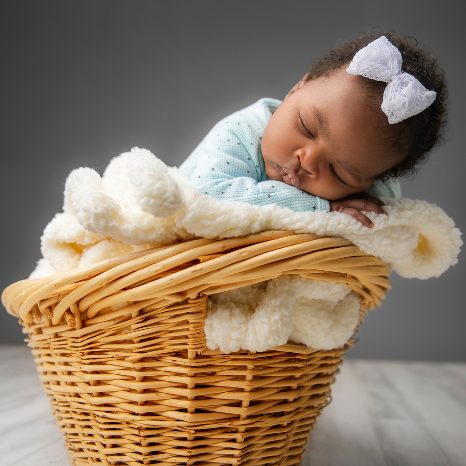 Professional portrait of a newborn girl sleeping in a basket