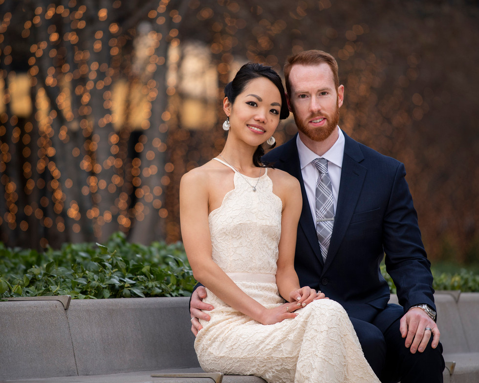 Professional outdoor family portrait of a young couple