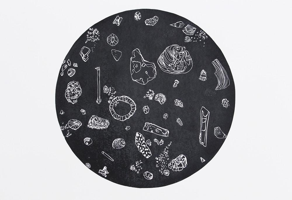 Midden Constellation, Linocut on Magnani paper, 50x35cm, 2016