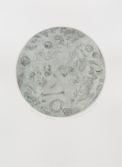 Lunar Midden, etched lino with chine-colle and hardground etching, 2016, Ed 44.