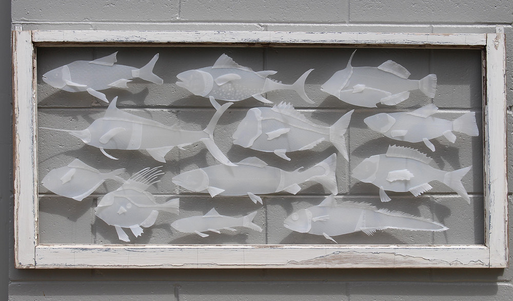 Not to Scale, HDPE milk bottles, fishing line and timber frame, 2015