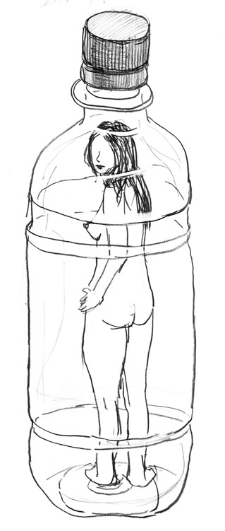 Study Drawing「Lady in the bottle」