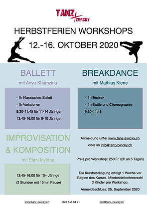 Herbstferien Workshop Tanz 12-16 Oktober