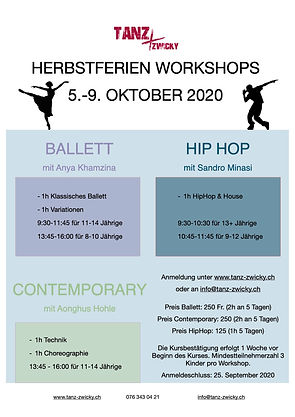Herbstferien Workshops 5-9 Oktober 2020