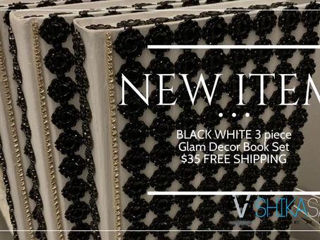 FREE SHIPPING BLACK WHITE 3 piece Glam Decor Book Set $35!