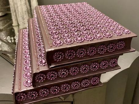 New   Metallic Pink 3 Piece Glam Decor Book Set